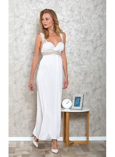 Lingabooms Kadın Pamuklu Askılı Dantel Detaylı Uzun Çeyizlik Gecelik Beyaz